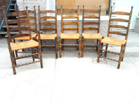 Antique 6 LADDER BACK Dinning Room CHAIRS 1 is CAPTAIN Caned