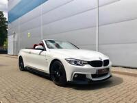 2015 15 reg BMW 420d M Sport Convertible WHITE + RED Leather + M Perfromamce Kit