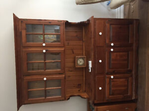 Solid pine Hutch/ China cabinet