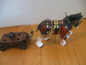 '60's VINTAGE HEAVY DRAFT HORSE in HARNESS with WAGON