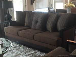 Like New Living Room Suite c/w custom draperies