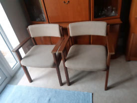 Vintage wood framed armchairs