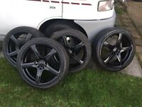 BK racing 18in alloys with excellent tyres. VW/Audi & jap