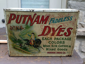 ANTIQUE PUTNAM FADELESS DYES METAL CABINET GREAT GRAPHICS MONROE