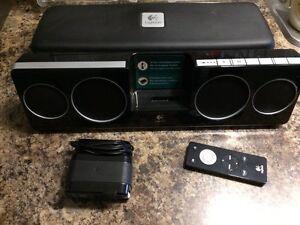 Portable rechargeable logitech pure-fi iPod speaker