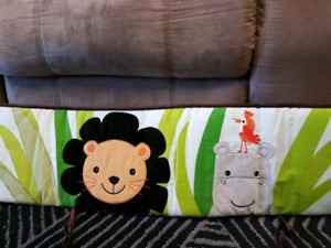 Reversible crib bumpers with sheets and crib skirt