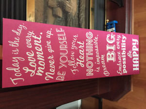 Pink quote wall piece
