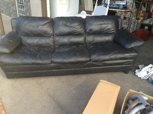 Couch chair and ottoman- black leather like