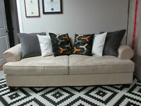 Paige Microsuede Sofa / Couch, and 6 IKEA Feather Cushions