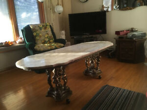 Marble and Brass coffee table,end tables and 1 lamp