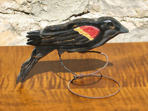 Hand Carved and Painted Wooden Red-Winged Blackbird on Wire