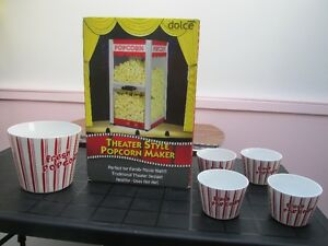 Theater Style Popcorn Maker New in Box with Bonus Popcorn Bowls