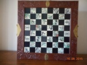 Chinese Hand Carved wooden chess case with hand carved pieces