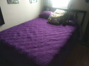 Double bed frame with comic book headboard for sale