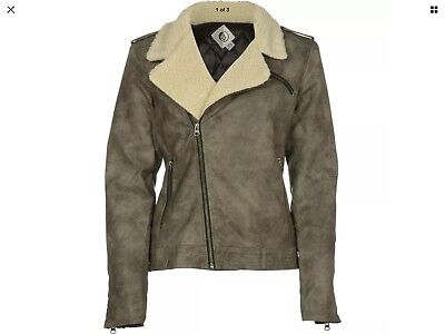 Volcom Women M Laced Moto Jacket Arc  Olive Green  Nwt Tagged At  115 00  50 Off