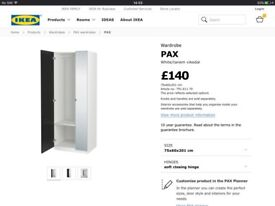 IKEA Pax wardrobe with shelves, drawer and mirror door