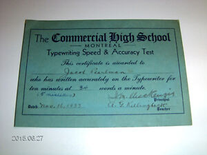 1933 TYPING TEST-COMMERCIAL HIGH SCHOOL-MONTREAL-J. PEARLMAN