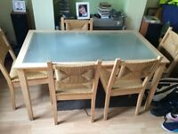 Glass and oak table and chairs