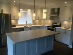 Affordable Fancy Custom Kitchen Cabinets with Quartz Countertop