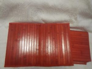 Rectangle Wooden Dining Table Red Pads Set of 6 NEW