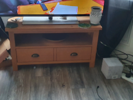 Solid oak TV cabinet and matching console table