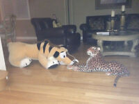 """Lion, stuffed lions, very large, 55"""" long and 24"""" high and 40x17"""