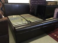 Dark brown real leather King size bed frame sleigh style scroll too high end ex Littlewoods 5ft NEW