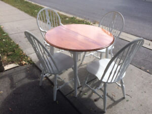 Chalk Painted Table and Four Windsor Chairs