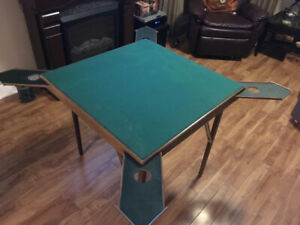 Norwegian Card Table, felt top and pullout cup holders.