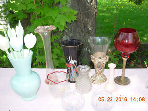 Lot de 9 vases/chandeliers/candle holders,$3 to $9, lot $39
