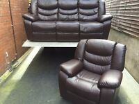 LUXURY PELLISSIMA 3 & 1 BROWN FAUX LEATHER RECLINING SOFAS