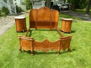 SPECTACULAR ART DECO PERIOD INLAID BEDROOM SUITE W/LINNEN CHEST