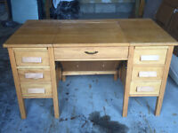 Desk with fold away section for typwriter/sewing machine