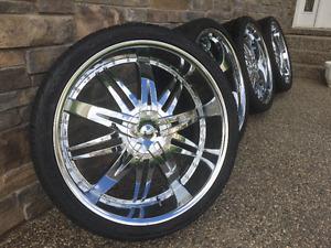 "26""inch Hoyo HY-7S CHROME Rims with Vezenia Tires (6x135)"