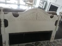Queen /double Shabby chic headboard in antique white