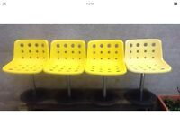 4 x Unusual Stylish Vintage Retro Swivel Yellow Hille Robin Day Office Dining Garden Café Style 1972