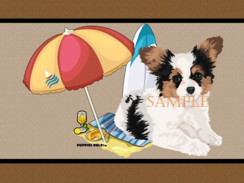 Puppies Rule Papillon Dog Breed Beach Buddy House Decor Door Mat Floor Rug