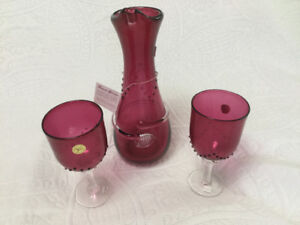 Angelo Rossi new hand blow glass decanter and wine glasses