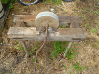 Antinque hand powered grindstone with original stand