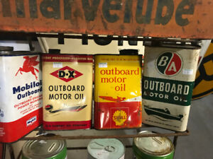 VINTAGE B.A. BA B/A OUTBOARD MOTOR OIL CAN TIN + 3 OTHERS