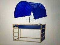 IKEA Kura reversible bed, bunk, blue and white pine, frame