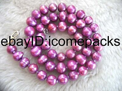 "freshwater pearl deep purple potato shape 8-9mm necklace 17"" wholesale bead gift"