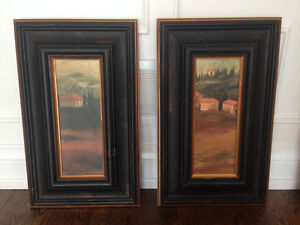 Pottery Barn Style, Two prints with solid wood frame