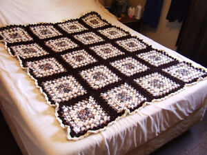 Beautiful Hand Crocheted Afghan #2 - White & Brown Tones - $50 Belleville Belleville Area image 2