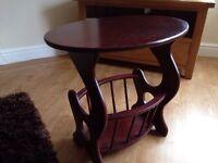 Mahogany table/magazine rack