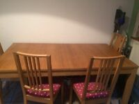 Bjursta Ikea extending table and 6 chairs - seats 6-8