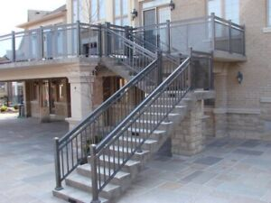 Aluminum railing with column glass gate fence.HomeStars reviewed