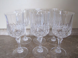 Six Vintage Crystal Wine Glasses