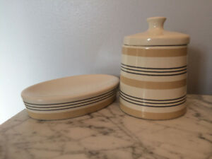 House & Home Soap dish and jar Excellent Condition!