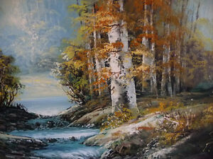 """Forest Sanctuary, Landscape by Paul Cho """"Woodland Stream"""" 1970's Stratford Kitchener Area image 3"""